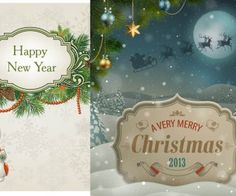 2013 Very Merry Christmas and Happy New Year vector