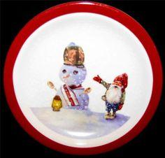 "Williams Sonoma NORDIC ELF Dessert Pie Plate SNOWMAN DONE Ref ""C"" 7 1/4"" NEW $14.99 EACH"