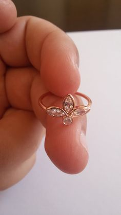 Tiara Rose Gold Ring Mothers Day Jewelry Gold ring Marquise