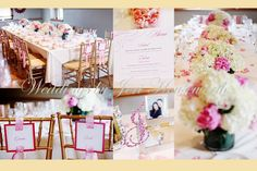 More Pink and White Stationery. Chair Signage, Menu Cards. By Thinking Paper  Jerri Houseworth Photography