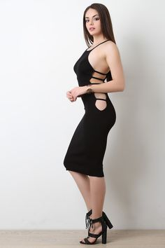 Stretchy Ribbed Knit Side Slit Caged Design Midi Dress – Bend the Trend Boutique Fashion Models, Girl Fashion, Fashion Outfits, Tight Dresses, Sexy Dresses, Cosy Outfit, Mode Style, Bodycon Dress, Clothes