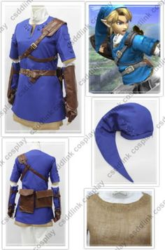 The Legend of Zelda Breath of the Wild Link Cosplay Costume with Shield Ver2 J
