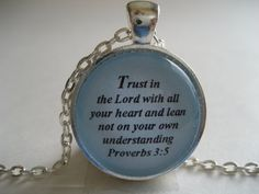 Trust in the Lord with all your heart Scripture Necklace Bible Verse Proverbs 35 by TheVerseWithin, $15.00