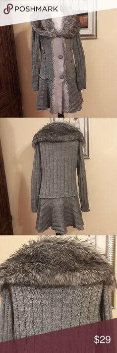 Collection Dressbarn Long Sweater Collection Dressbarn Long Sweater, shell, 65%acrylic, 35%wool, fake fur trim, 80%acrylic, 20%polyester color gray Collection Dressbarn Sweaters Cardigans