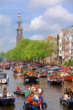 Koninginnedag/Queensday-Jordaan, Amsterdam, North Holland, great spot along one of the canals. Luxembourg, Oh The Places You'll Go, Places To Visit, Kingdom Of The Netherlands, Dutch Netherlands, I Amsterdam, Kings Day Amsterdam, Dutch People, Festivals Around The World