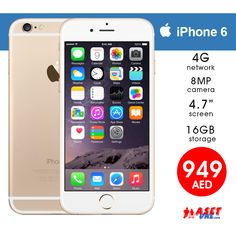 AED 949   Apple iPhone 6-R 16GB, 4G LTE, 8MP, Gold with 1 Year Warranty  Tel ☎️ : 045576800 ➥ WhatsApp 📱: 0551045757  WWW.ASET-UAE.COM #asetuae #mobiles #dubai #uae #apple #iphone Iphone 6 16gb, Dubai Uae, Daily Deals, Apple Iphone 6, Mobiles, 1 Year, Shop, Gold, Mobile Phones