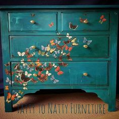painted dresser chest of drawers diy furniture repaint butterflies & flutterbyes teal green blue upcycled