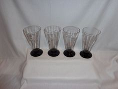 Vintage Glass Black Amethyst Base Etched Optic Ice Tea Parfait Glasses (4)