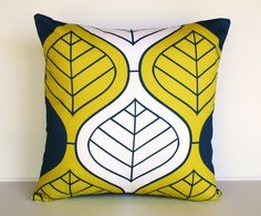 Retro Print Cushion Cover: Organic cotton.