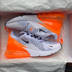 Nike Shoes & Air Max 270 & Color: Orange/White & The post Nike Shoes Nike Shoes Outfits, Nike Air Shoes, Women's Shoes, Airmax Thea, Orange Nike Shoes, Nike Air Max, Fashion Models, Fashion Outfits, Celebrity Fitness
