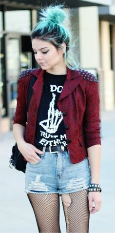 |Ripped Fishnets | Graphic Tee | Red Moto Jacket | Messy Bun| Effortless Style | Grunge | Rocker | Punk |