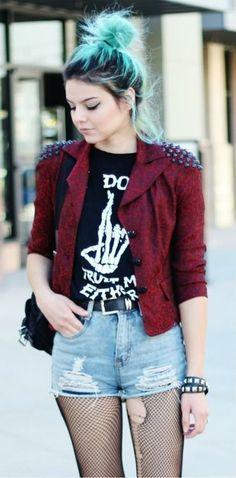 |Ripped Fishnets | Graphic Tee | Red Moto Jacket | Messy Bun| Effortless Style | Grunge | Rocker | Punk |
