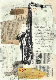 Signed Canvas PRINT Art Gift wall decor sketch painting saxophone Jazz Illustration Drawing Mixed media collage autographed Mirel E Ologeanu by rcolo on Etsy https://www.etsy.com/listing/221502879/signed-canvas-print-art-gift-wall-decor