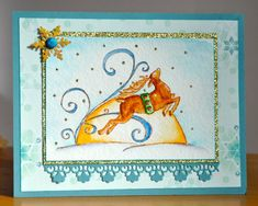 Fly to the Moon by Dockside - Cards and Paper Crafts at Splitcoaststampers Christmas Cards 2017, Christmas Scenes, Prickley Pear, Split Coast Stampers, Rudolph The Red, Red Nosed Reindeer, Tombow, My Stamp, Petunias