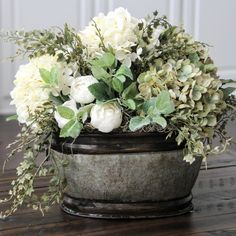 Farmhouse Floral Arrangement, Rustic Arrangement, Dried Look Hydrangea Centerpiece, Hydrangeas in a Galvanized Container Updates from SimplyStems on Etsy Faux Flowers, Silk Flowers, Beautiful Flowers, Purple Flowers, White Flowers, Silk Flower Arrangements, Table Arrangements, Deco Floral, Floral Centerpieces