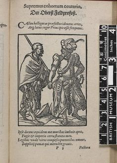 One of 133 woodcut book-illustrations, showing an officer and a man standing; from Hartmann Schopper, 'Panoplia [Greek] Omnium illiberalium mechanicarum aut sedentariarum artium ...', (Frankfurt, Sigmund Feierabend, 1568), quire P5, with Latin and German title and German verses by Schopper in one column.  Woodcut and letterpress