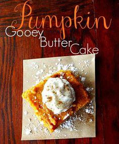 Pumpkin Gooey Butter Cake http://www.lifewiththecrustcutoff.com/pumpkin-gooey-butter-cake/