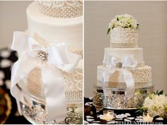 White wedding cake with bow detail | Karen Harrison Photography