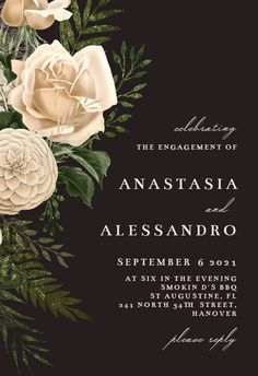 Cream Bouquets - Engagement Party Invitation #invitations #printable #diy #template #Engagement #party #wedding Free Wedding Invitations, Rehearsal Dinner Invitations, Engagement Party Invitations, Wedding Rehearsal, Bridal Shower Invitations, Wedding Bouquets, Printable, Cream, Island
