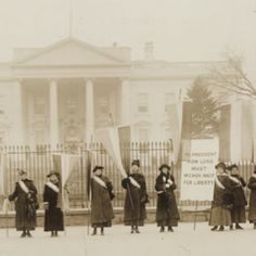 The picture shown above is of women standing outside in the hard, cold winter protesting their beliefs of women's rights. These women were bullied my men who did not support their cause. Men would destroy their banners and throw things at the women but the women never backed down from their beliefs of women's rights.