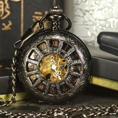 Discount Up to TIEDAN Black Steampunk Skeleton Mechanical Pocket Watch Men Antique Luxury Brand Necklace Pocket & Fob Watches Chain Male Clock Steampunk Pocket Watch, Mechanical Pocket Watch, Skeleton Pocket Watch, Mechanical Hand, Cool Watches, Watches For Men, Casual Watches, Cheap Watches, Women's Watches