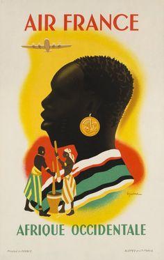 Air France - Afrique Occidentale/West Africa - vintage travel poster by Vincent Guerra Retro Poster, Poster Art, Poster Vintage, Vintage Travel Posters, Vintage Advertising Posters, Retro Ads, Comics Vintage, Vintage Logos, Vintage Air