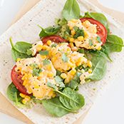 scrambled egg and corn wrap