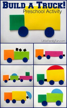 Weekday Wrap-up, Week 1 Build a shape truck, fun for transportation and construction themes in preschool and kindergarten. Compare and contrast in speech therapy too Transportation Unit, Transportation Preschool Activities, Transportation Theme For Toddlers, Childcare Activities, Toddler Activities, Preschool Shape Activities, Pre School Activities, Party Activities, Preschool Craft Activities