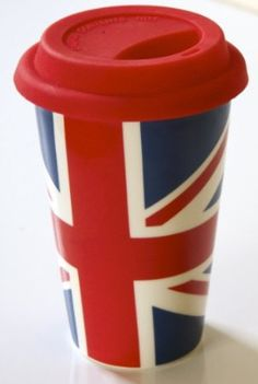 Amazon.com: HDIUK Great British Union Jack 8oz Double Walled Ceramic Coffee Mug with Red Silicone Lid. Perfect for Travel / office etc: Kitc...