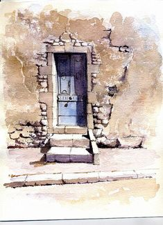 porte bleu by Bediere74, via Flickr #watercolorarts