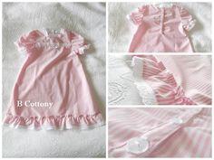 Camisa de noite risquinhas cor de rosa com bordado Inglês