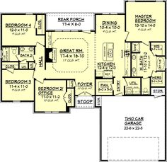 Traditional Style House Plan - 0 Beds 0 Baths 1750 Sq/Ft Plan #430-69 Floor Plan - Main Floor Plan - Houseplans.com