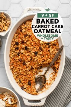 This Baked Carrot Cake Oatmeal is well-spiced, perfectly-sweetened, and made with only 10 ingredients! Who says you can't have dessert for breakfast? Breakfast Bake, Vegan Breakfast Recipes, Breakfast Dishes, Brunch Recipes, Vegan Recipes, Morning Breakfast, Pie Recipes, Breakfast Ideas, Vegan Oatmeal