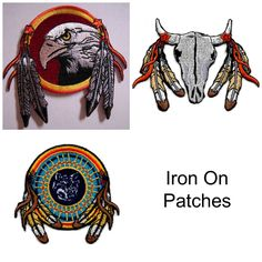 SOLD Lot of 3 Iron On Embroidered Patches Eagle Wolf Dreamcatcher Mandella Feathers