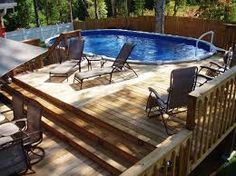 Image result for pictures of 12 X 23 oval pool with deck