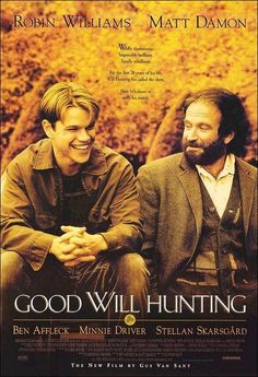 Good Will Hunting With Robin Williams, Matt Damon, Ben Affleck. Written by Matt Damon and Ben Affleck. Directed by Gus van Sant. Old Movies, Great Movies, Indie Movies, Comedy Movies, Vintage Movies, Amazing Movies, See Movie, Movie Tv, Movie Plot