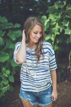 The PERFECT Back to School top! Easily transition from summer to fall in this piece!