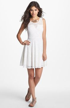 American Rag Dress, Sleeveless Lace A-Line - Juniors Dresses ...
