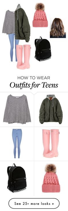 """""""rainy day"""" by samanthak-24 on Polyvore featuring New Look, Hunter, MANGO and Victoria's Secret"""