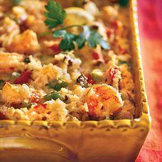 Cajun Shrimp Casserole | We offer make-ahead and freezing instructions on this luscious Cajun Shrimp Casserole. | Classic Southern #Recipes | SouthernLiving.com