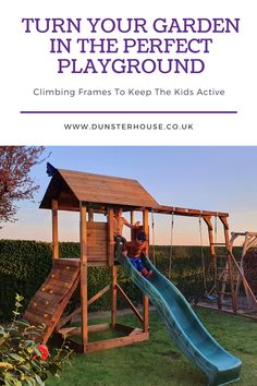 Garden adventures start here! Fulfil your children's dreams with a wooden climbing frame or garden play house. Expand their imaginative horizons away from TV screens and into the wild that is your garden. Climbing Frame Diy, Garden Playhouse, Garden Buildings, Backyard For Kids, Heart For Kids, Play Houses, Screens, Playground, Dreams
