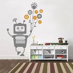 stickers muraux autocollants de mur, robot créative modernes mur de ...