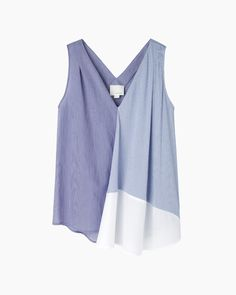 BAND OF OUTSIDERS Patch Stripe Sleeveless Faux Wrap Shirt