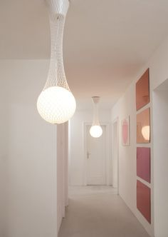 Glass and fabric pendant lamp NETWORK - Formagenda