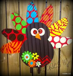 Turkey With Funky Feathers -- Could use fun printed papers. Would be a cool classroom board