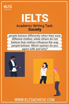 Society: IELTS Discussion Essay Model Answer. Some people believe that people behave differently when they wear different clothes, while others do not believe that clothes influence the way people behave. Which opinion do you agree with and why? Use specific reasons and details to support your answer. Take a look at the model answer. #WritingTask2 #SampleAnswer #Society #IELTSEssay #IELTSModalAnswer #IELTSQuestion #SampleAnswer Ielts Writing Task 2, Academic Writing, Studying, Pretty, People, Model, Clothes, Outfits, Clothing