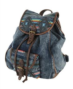 Patterned Denim Backpack - StyleSays