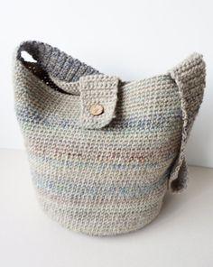 Handmade  Wool Cotton Cross Body Bag /Crochet Hobo Bag / by Imunde