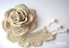 Beautiful Crocheted Rose, with diagram