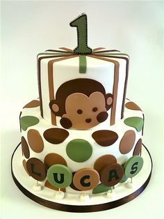 monkey birthday cake - love the colors!